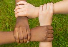 Соединенные руки multiracial друзей в сотрудничестве как команда Стоковая Фотография