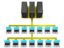 соединенные серверы тетрадей к Стоковая Фотография RF