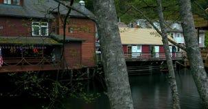 Соединенные Штаты, Аляска, городок Ketchikan, зеленый, небольшой поток, улица заводи акции видеоматериалы