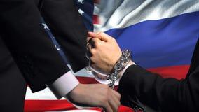 Соединенные Штаты санкционируют Россию, прикованный конфликт оружий, политических или экономических видеоматериал