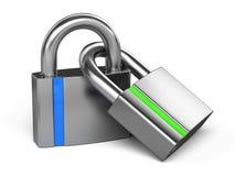 соединенные padlocks 2 Стоковые Изображения RF