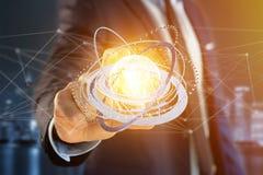 Соединенный значок концепции глобуса земли на футуристическом интерфейсе Стоковые Изображения RF