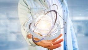 Соединенный значок концепции глобуса земли на футуристическом интерфейсе Стоковая Фотография RF