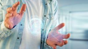 Соединенный значок концепции глобуса земли на футуристическом интерфейсе Стоковое фото RF