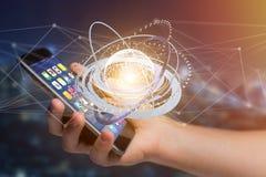 Соединенный значок концепции глобуса земли на футуристическом интерфейсе Стоковое Изображение RF