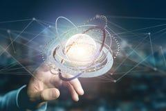 Соединенный значок концепции глобуса земли на футуристическом интерфейсе Стоковые Фотографии RF