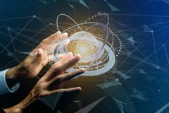 Соединенный значок концепции глобуса земли на футуристическом интерфейсе Стоковые Изображения