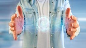 Соединенный значок концепции глобуса земли на футуристическом интерфейсе Стоковые Фото
