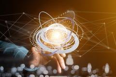 Соединенный значок концепции глобуса земли на футуристическом интерфейсе Стоковое Фото