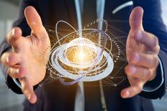 Соединенный значок концепции глобуса земли на футуристическом интерфейсе Стоковая Фотография
