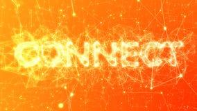 Соединитесь в апельсине - проиллюстрированной концепции громкого слова, сетевых подключениях плекса иллюстрация вектора