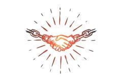 Соединитесь, заключитесь контракт, согласование, партнерство, концепция связей Вектор нарисованный рукой изолированный иллюстрация вектора