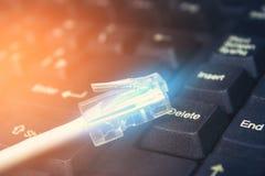 Соединитесь к интернету, кабелю компьютера стоковые изображения rf