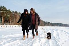 Соедините в любов бежать на пляже зимы с собакой щенка стоковое фото rf