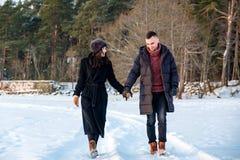 Соедините в любов держа руки и идя совместно в парк в зиме стоковые фотографии rf