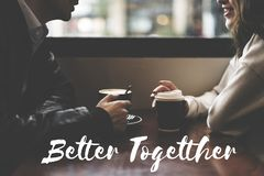 Соедините датировать кафе кофе потратьте слово времени совместно стоковое изображение rf