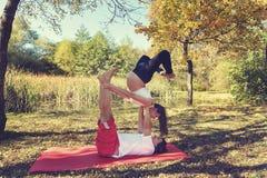 Соедините делать йогу acro в осени парка октябрь беременная женщина Стоковые Фотографии RF