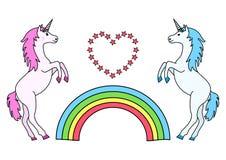 Соедините единорогов с радугой и сердцем также вектор иллюстрации притяжки corel иллюстрация вектора