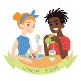 Соедините еду Иллюстрация вектора многокультурных пар в плоском стиле мультфильма на белой предпосылке Африканский сдерживать мал бесплатная иллюстрация
