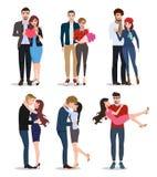 Соедините набор характеров вектора Любовники валентинок в датировка отношения иллюстрация вектора