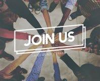 Соедините нас приложите концепцию команды рекрута членства рабочего места стоковое изображение