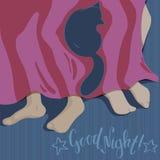 Соедините сон с котом Литерность спокойной ночи Плоская иллюстрация вектора стиля Люди спать с любимцем бесплатная иллюстрация