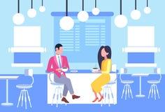 Соедините сотрудников женщины человека сидя на бизнесменах таблицы кафа имея неофициальное заседание в обсуждать кофейни иллюстрация штока
