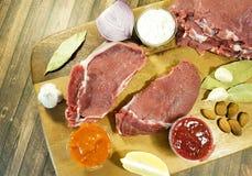 соедините сырое мясо на гайках соуса перца, перец залива chil, рецепт Стоковое Изображение