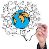 соедините usb сети руки привода чертежа социальный Стоковое Фото
