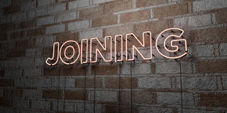 СОЕДИНЯТЬ - Накаляя неоновая вывеска на стене каменной кладки - 3D представило иллюстрацию неизрасходованного запаса королевской  иллюстрация вектора