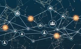 Соединять реальности Сеть, социальные средства массовой информации, SNS, связь интернета Малая сеть соединенная к более большой с иллюстрация вектора