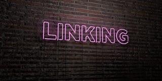 СОЕДИНЯТЬ - реалистическая неоновая вывеска на предпосылке кирпичной стены - 3D представил изображение неизрасходованного запаса  бесплатная иллюстрация
