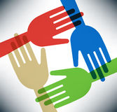 соединяясь руки счастливые Стоковое Фото