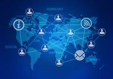 Соединение значков и людей компьютера в глобальном Стоковое Изображение RF