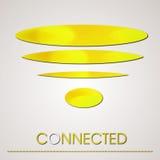 Соединение логотипа Wifi золота абстрактное Стоковая Фотография RF