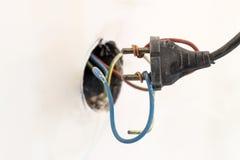 Соединение плохо связанный проволокой показывать штепсельной вилки плохое и неправильное и опасное Стоковое фото RF