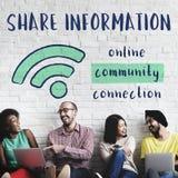 Соединение связи сети делит концепцию идей стоковые изображения