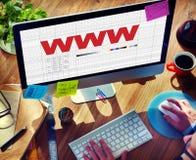 Соединение сети вебсайта WWW деля социальную концепцию Стоковые Фотографии RF