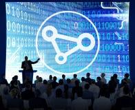 Соединение соединяет концепцию скрепления Social доступа к сети связи Стоковые Изображения RF