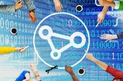 Соединение соединяет концепцию скрепления Social доступа к сети связи Стоковые Фотографии RF