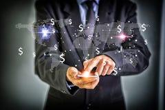 Соединение технологии средств массовой информации всемирное и делает концепцию денег M Стоковые Изображения
