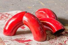 Соединение трубы утюга красного цвета Стоковые Фотографии RF