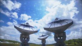 Соединения спутниковой антенна-тарелки с сетью базы данных акции видеоматериалы
