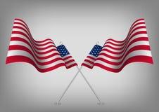 Соединенные Штаты развевая затеняемый американский флаг Символ патриота США национальный бесплатная иллюстрация