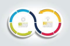 2 соединенных круга стрелки Элемент Infographic Стоковое Изображение RF