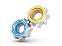 2 соединенных шестерни cogwheel работы на белизне иллюстрация вектора
