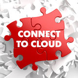 Соединитесь к облаку на красной головоломке Стоковые Фотографии RF