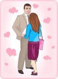 соедините влюбленность Человек усмехаясь смотрящ красивую женщину Стоят, что сторона укомплектовывает личным составом маленькая д Стоковые Фото