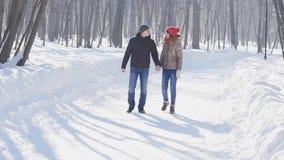 Соедините держать друг друга руки, зима идет на дорогу акции видеоматериалы