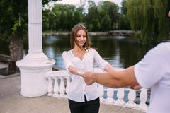 Соедините иметь потеху на мосте в парке Стоковые Фото